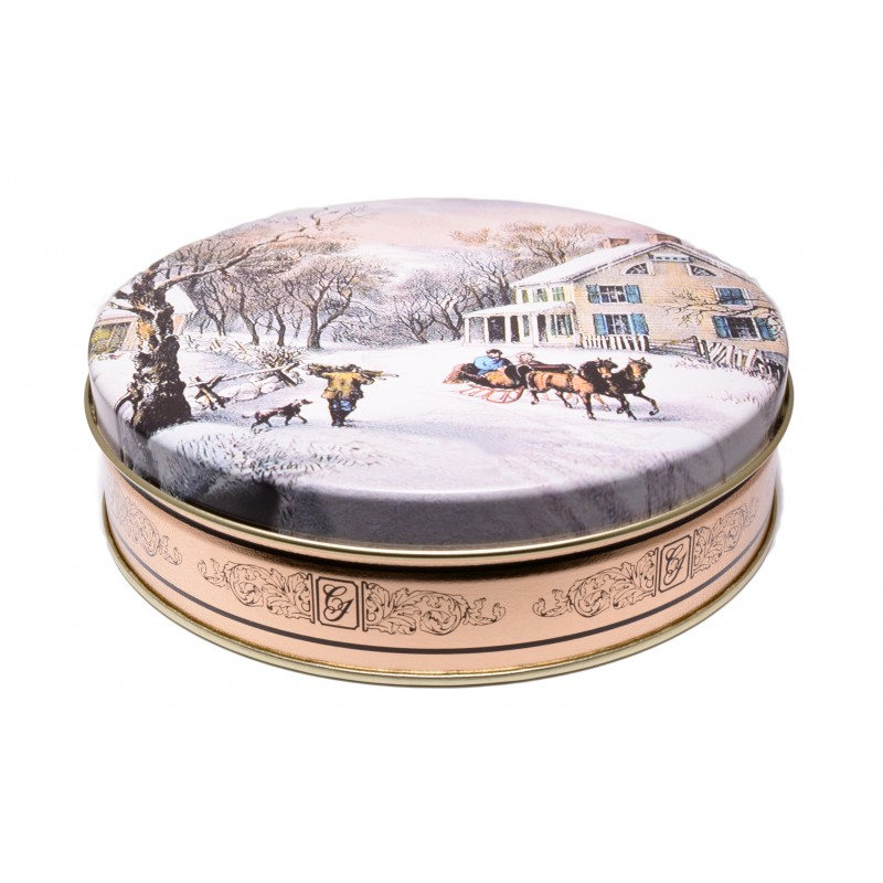 Currier and Ives Gourmet Designer Winter Sleigh Ride Gift Tin